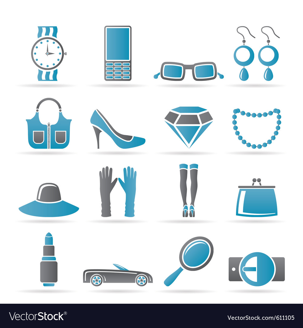 Female accessories icons vector | Price: 1 Credit (USD $1)
