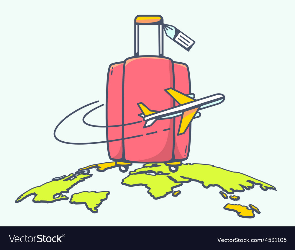 Flying air plane around red suitcase vector | Price: 1 Credit (USD $1)