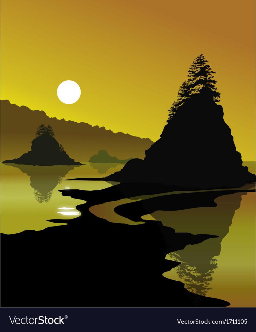 Golden shores vector | Price: 1 Credit (USD $1)