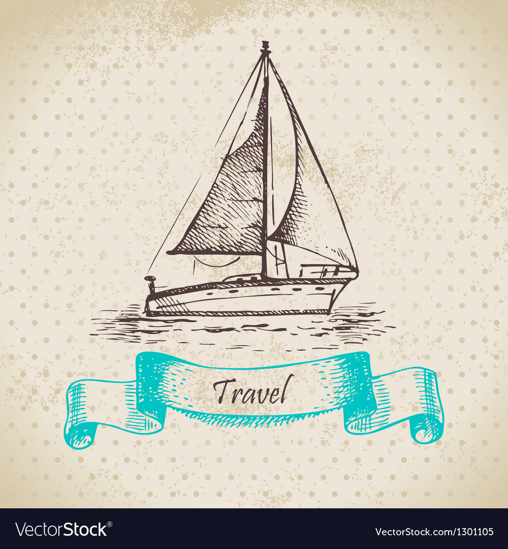 Hand drawn vintage background with boat vector | Price: 1 Credit (USD $1)