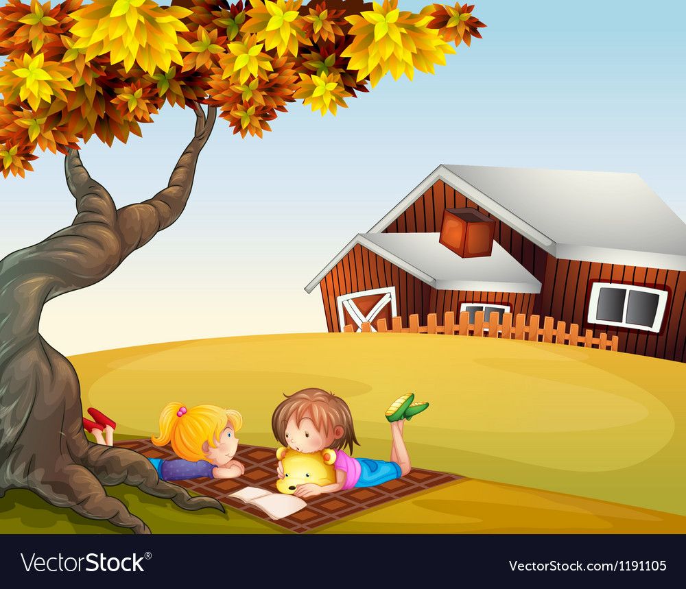 Kids reading under a big tree vector | Price: 1 Credit (USD $1)