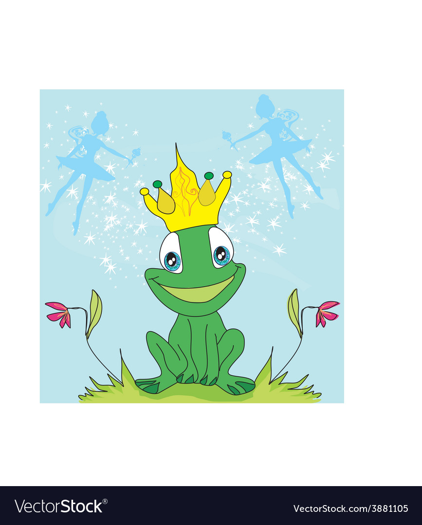 Little fairies and frog vector | Price: 1 Credit (USD $1)