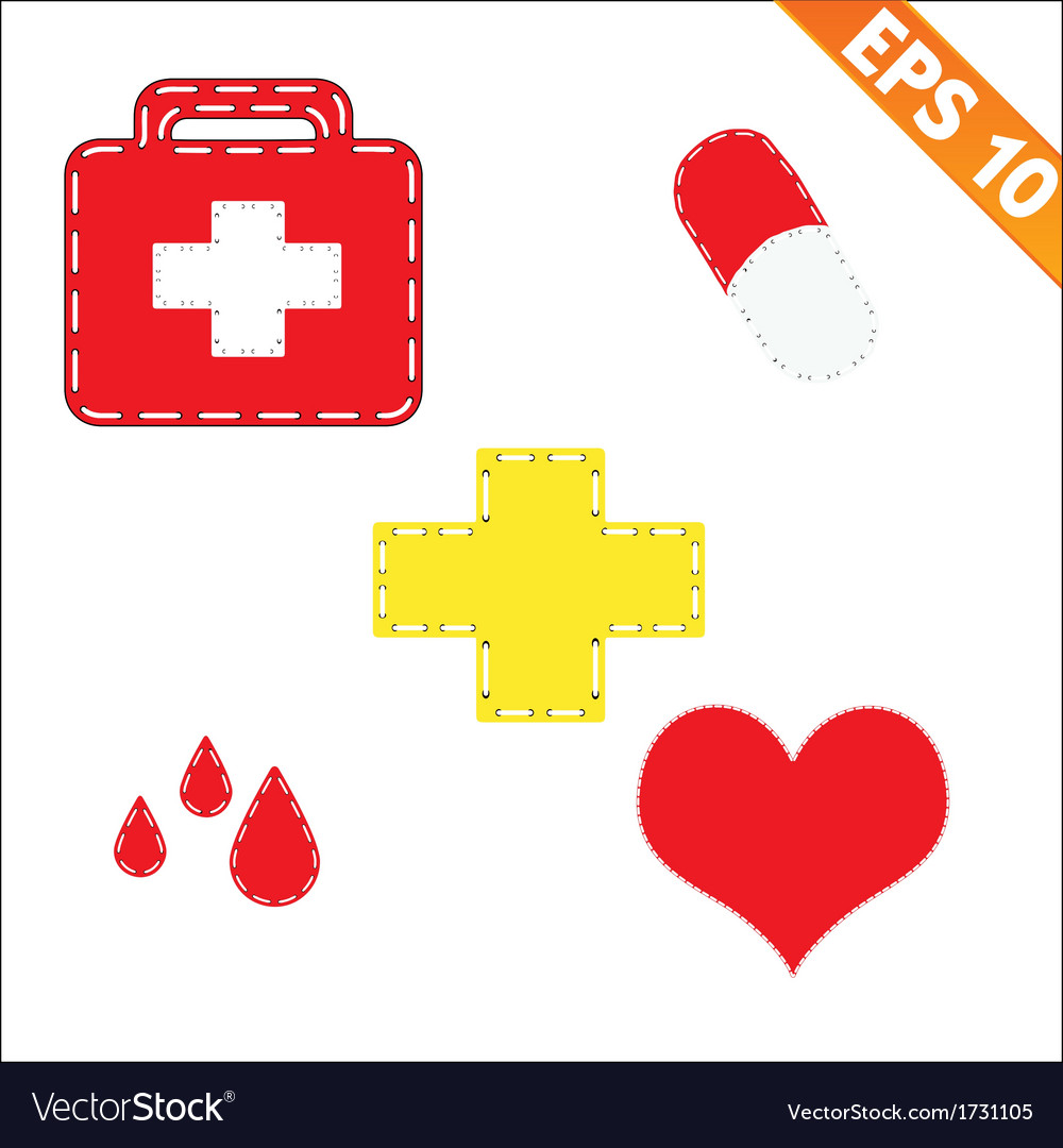 Medical symbol with stitch style background - vector | Price: 1 Credit (USD $1)