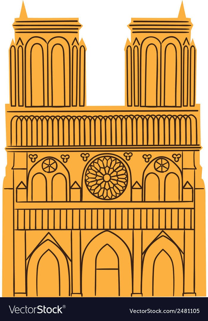 Notre dame de paris cathedral isolated on white vector | Price: 1 Credit (USD $1)