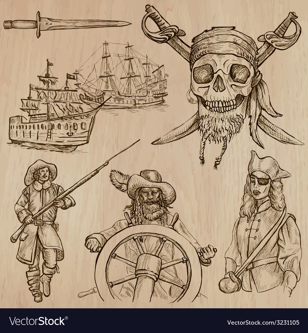 Pirates no5 - an hand drawn pack vector | Price: 1 Credit (USD $1)