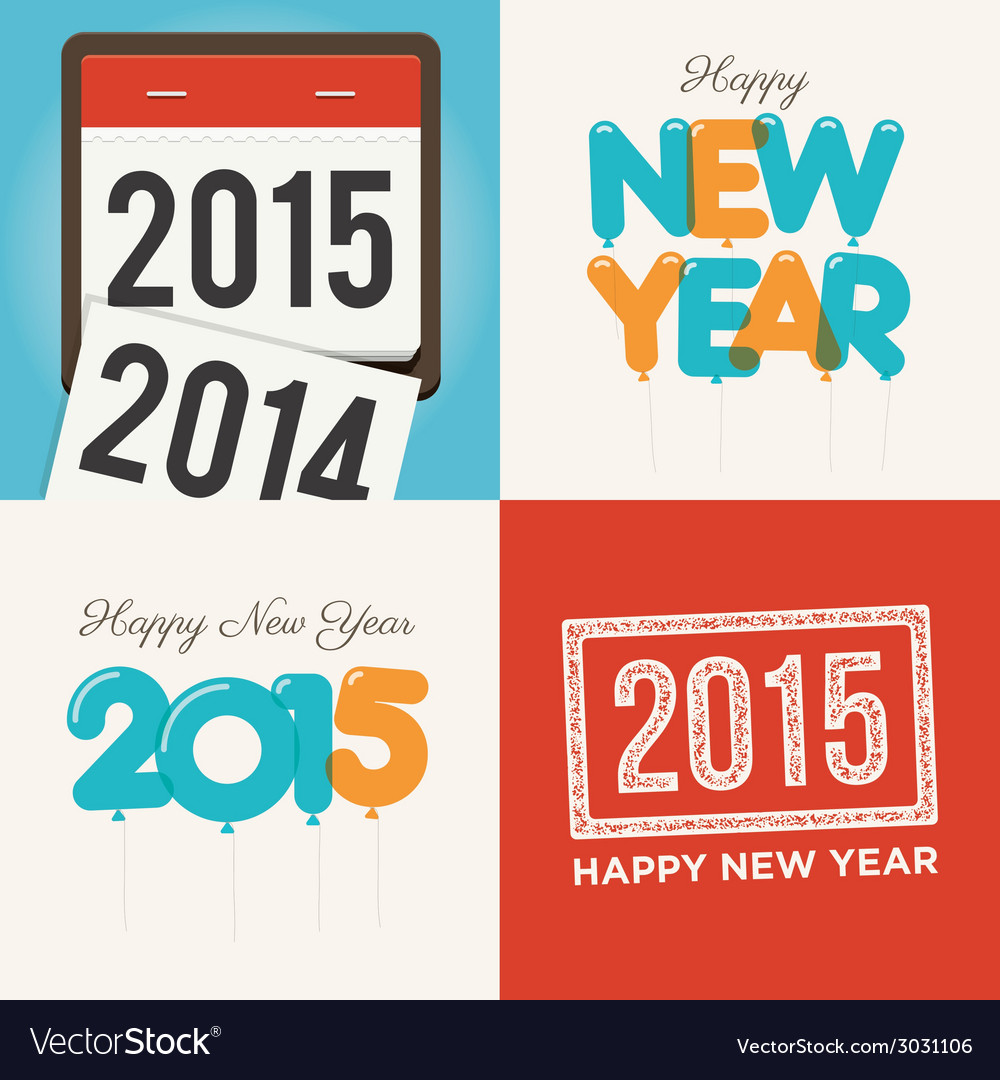Happy new year card set vector | Price: 1 Credit (USD $1)