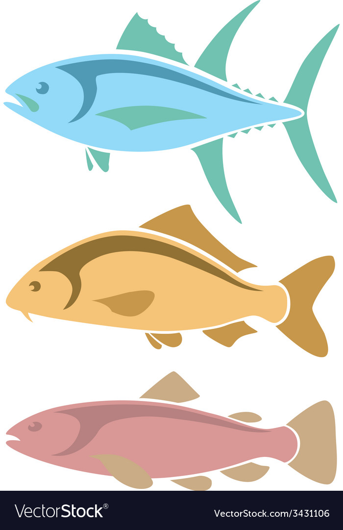Icons tuna carp and trout vector | Price: 1 Credit (USD $1)