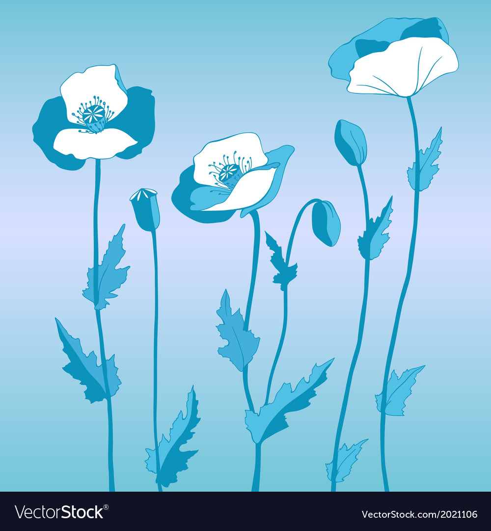 Poppy in blue style vector | Price: 1 Credit (USD $1)