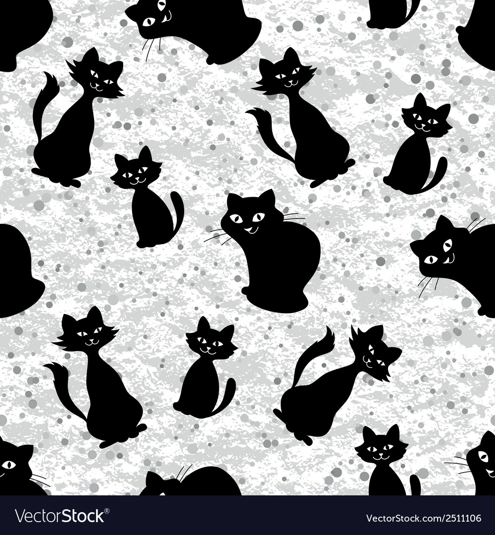 Seamless background with cats silhouettes vector | Price: 1 Credit (USD $1)
