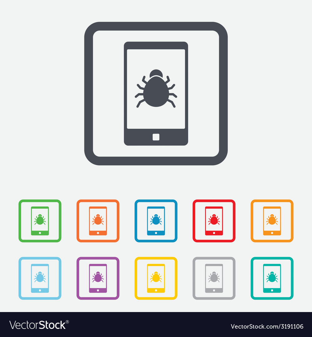 Smartphone virus sign icon software bug symbol vector | Price: 1 Credit (USD $1)