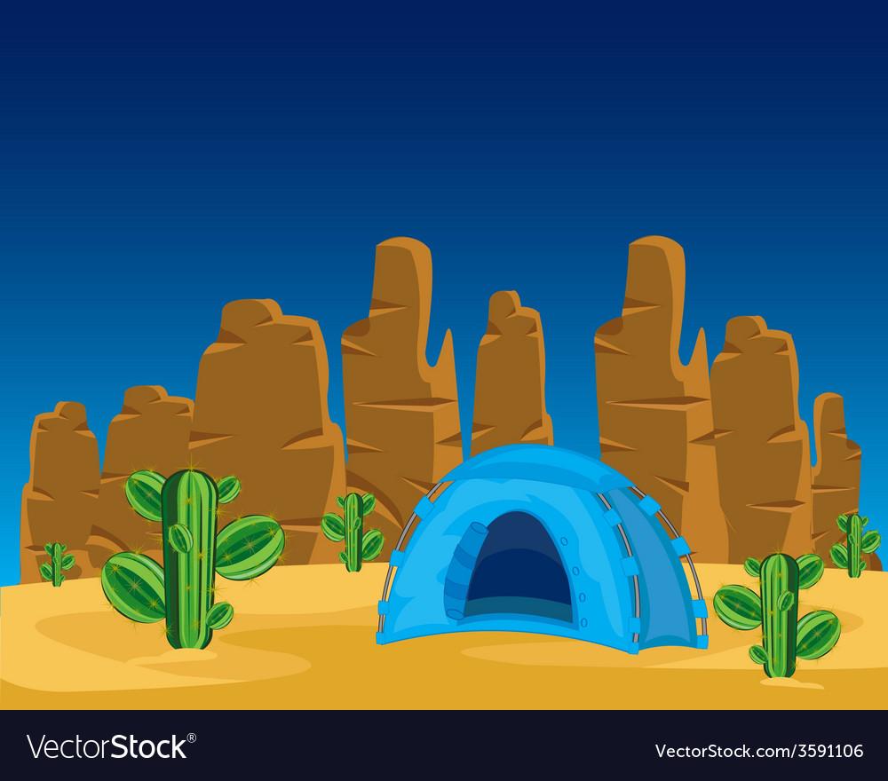 Tent in desert vector | Price: 1 Credit (USD $1)