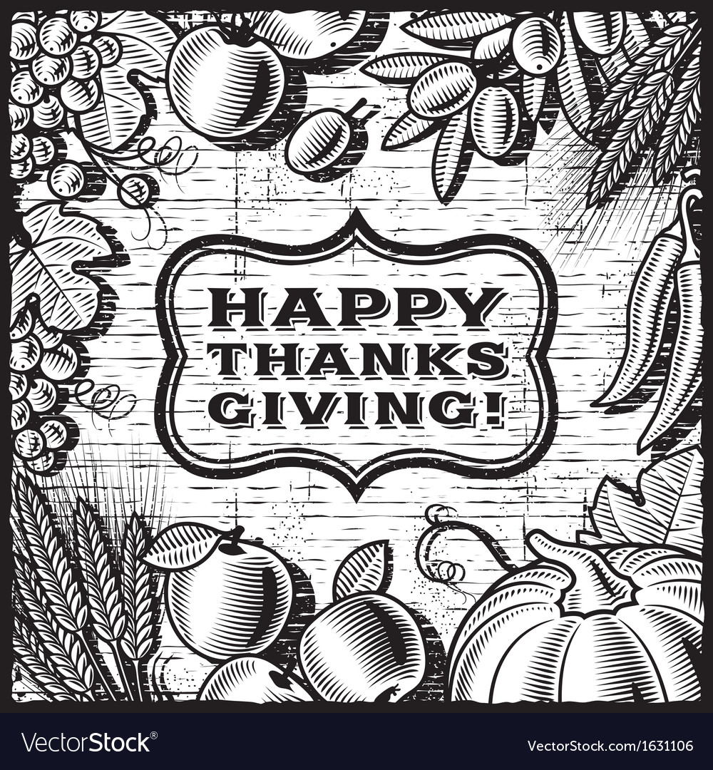 Thanksgiving retro card black and white vector | Price: 1 Credit (USD $1)
