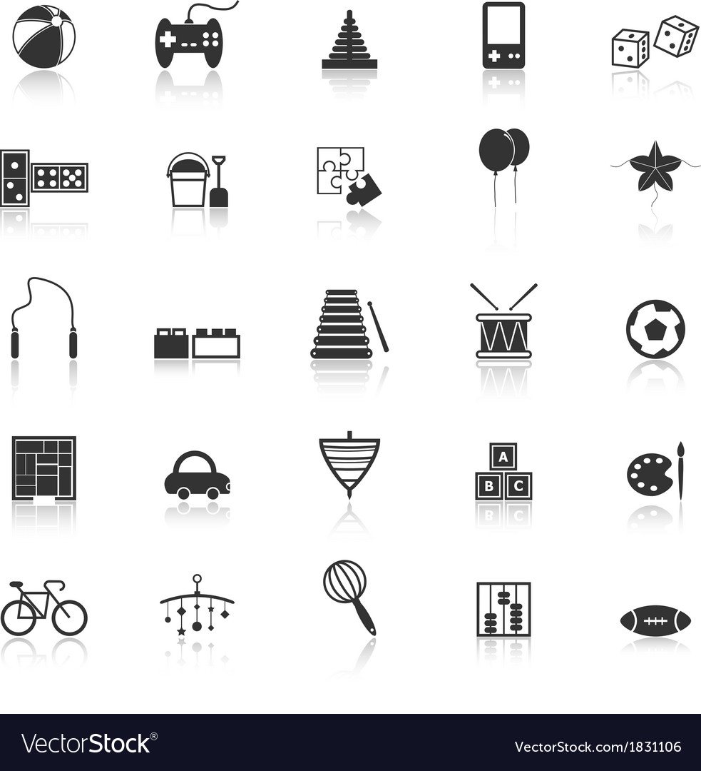 Toy icons with reflect on white background vector | Price: 1 Credit (USD $1)