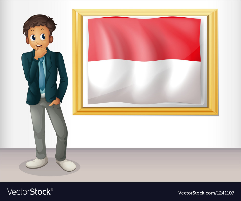 A boy with the framed flag of indonesia vector | Price: 1 Credit (USD $1)