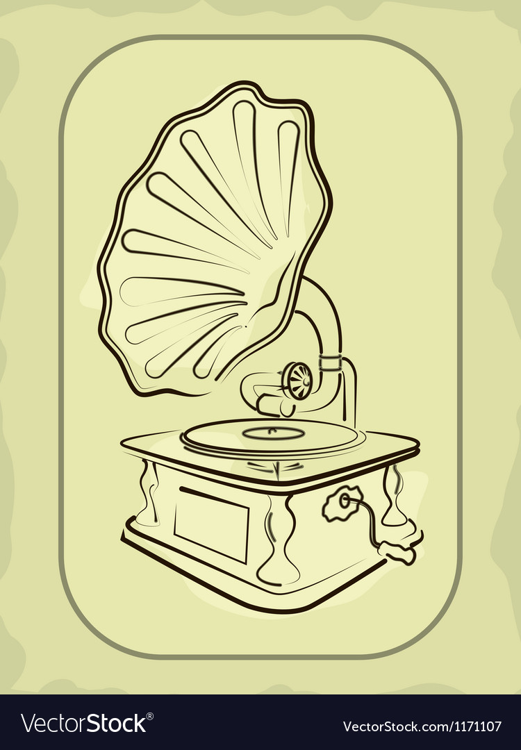 Ancient antiquarian gramophone vector | Price: 1 Credit (USD $1)