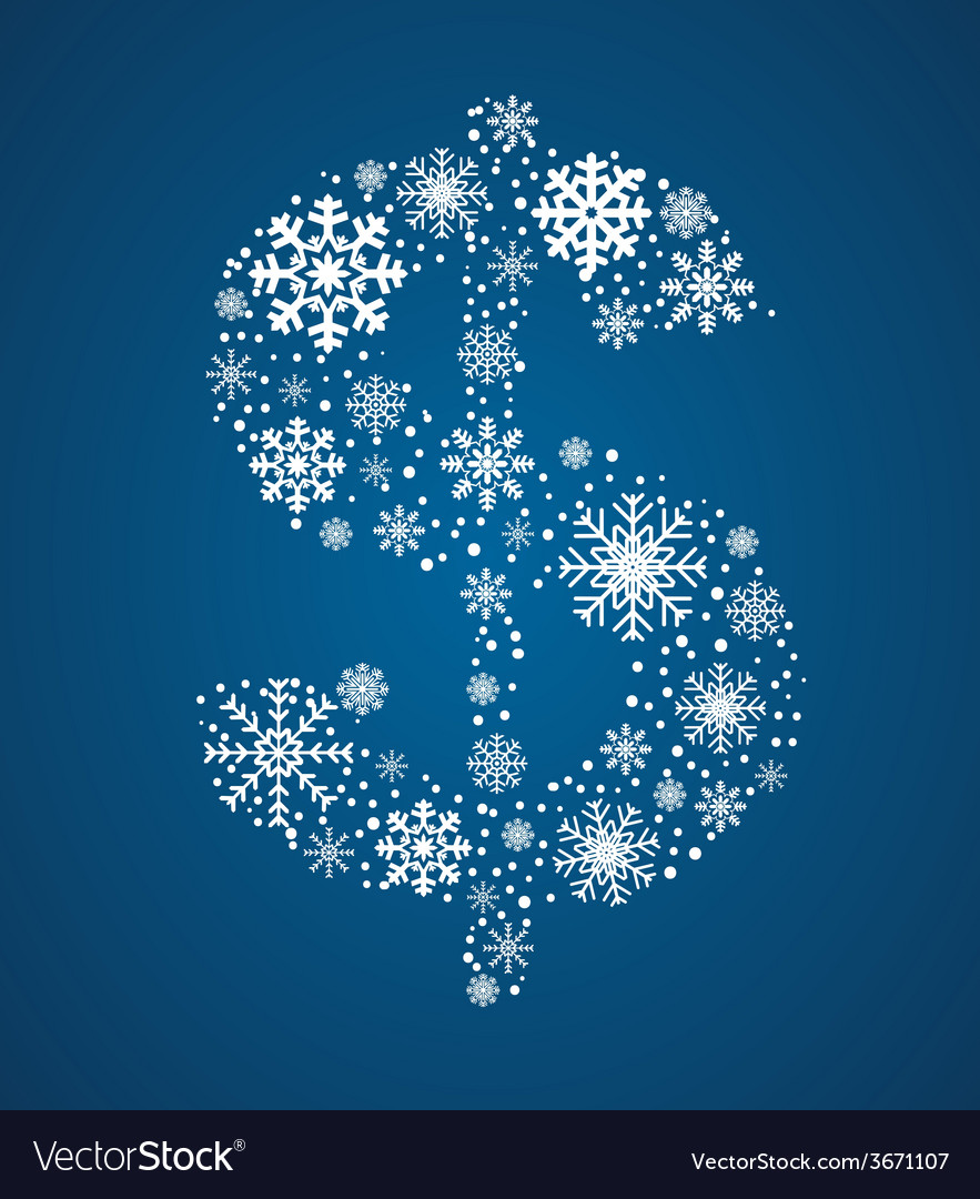 Dollar sign font frosty snowflakes vector | Price: 1 Credit (USD $1)