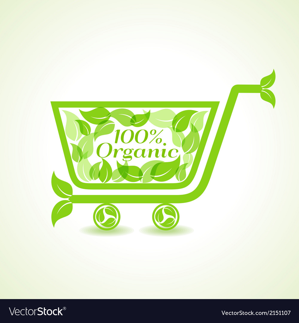 Eco shopping cart with group of green leaf vector | Price: 1 Credit (USD $1)
