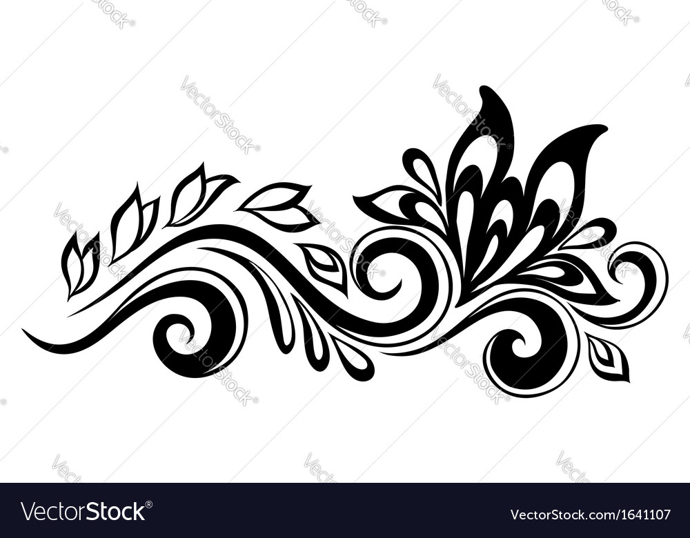 Flowers and leaves design element vector | Price: 1 Credit (USD $1)