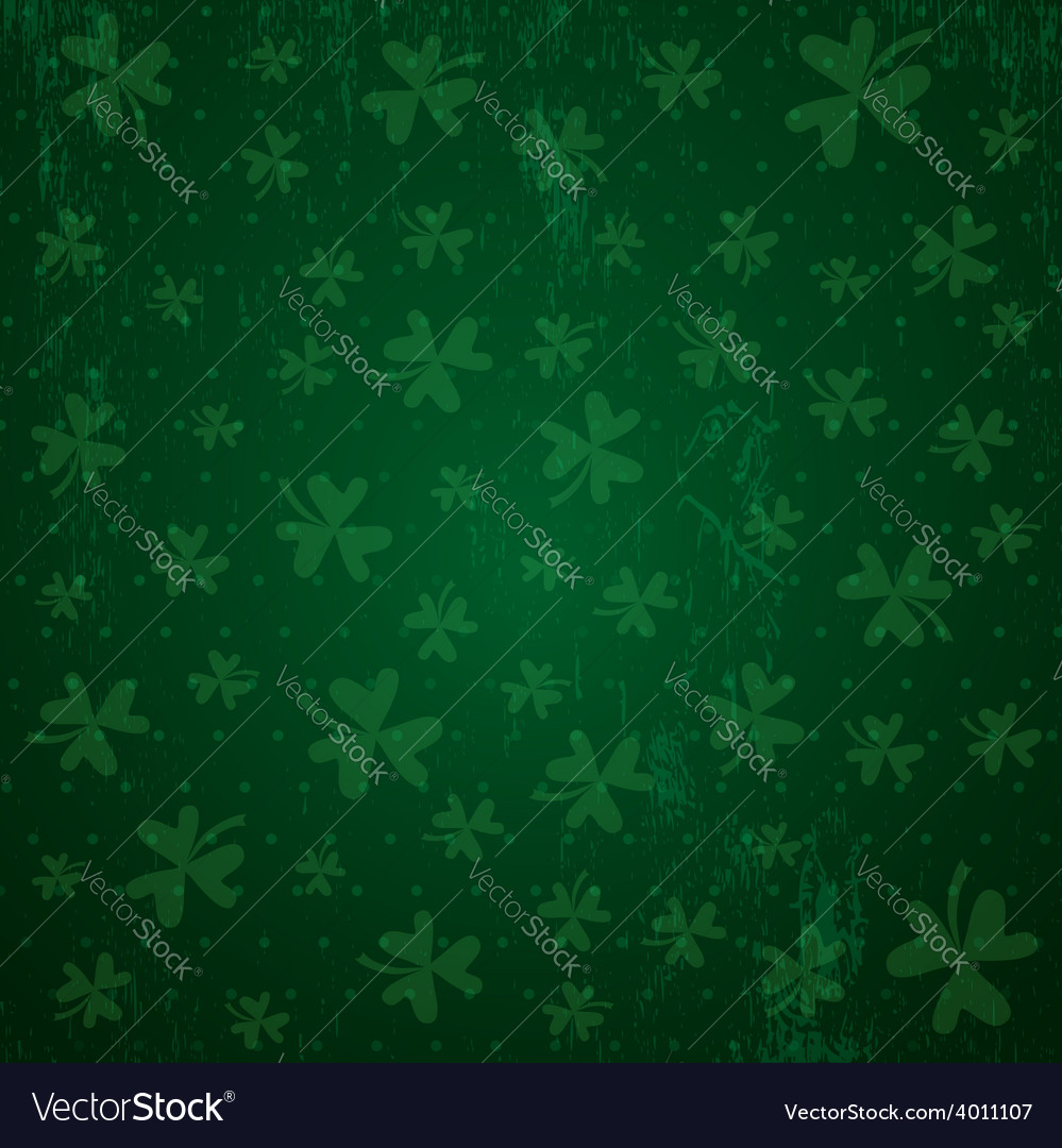 Green background for patricks day with shamrocks vector | Price: 1 Credit (USD $1)