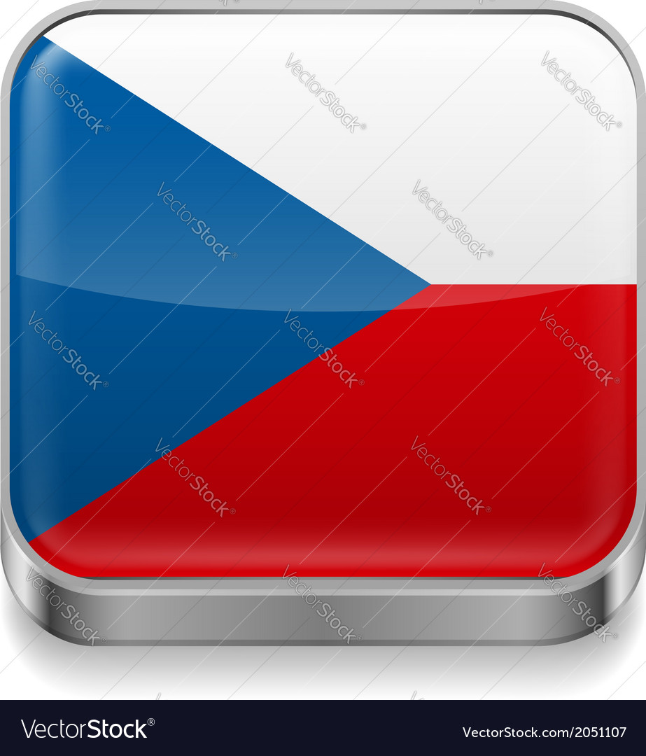 Metal icon of czech republic vector | Price: 1 Credit (USD $1)