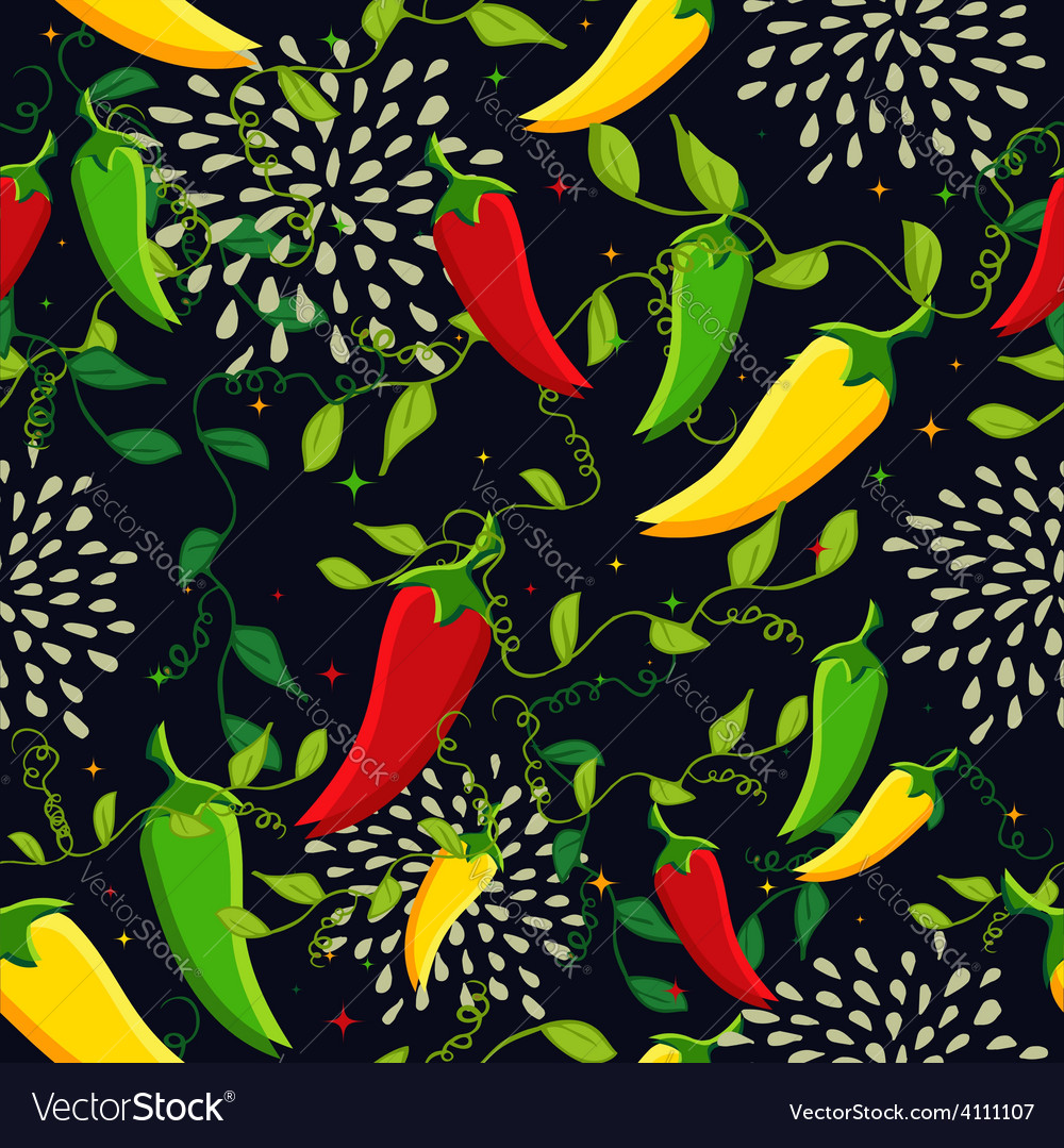 Mexican chili seamless pattern vector | Price: 1 Credit (USD $1)