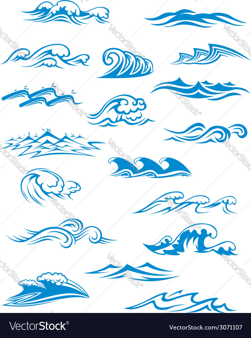 Ocean or sea waves surf and splashes set vector | Price: 1 Credit (USD $1)