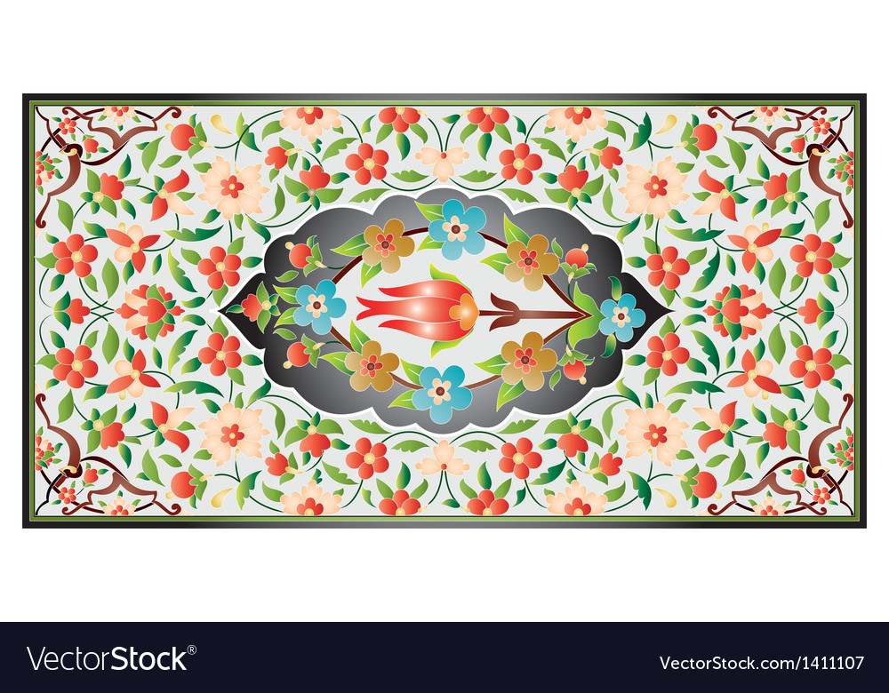 Ottoman art of illumination colorful vector | Price: 1 Credit (USD $1)