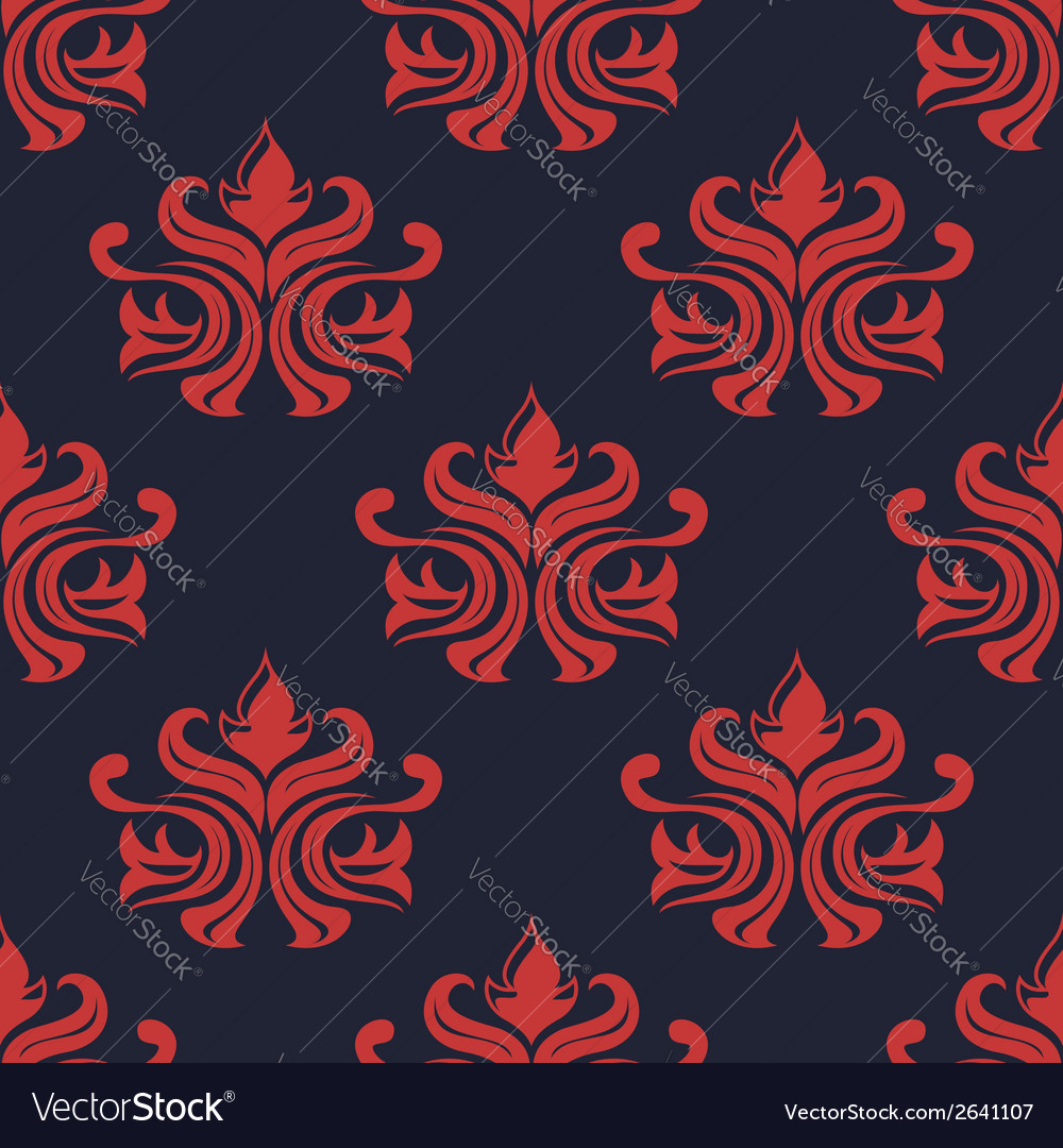 Seamless red colored floral arabesque pattern vector | Price: 1 Credit (USD $1)