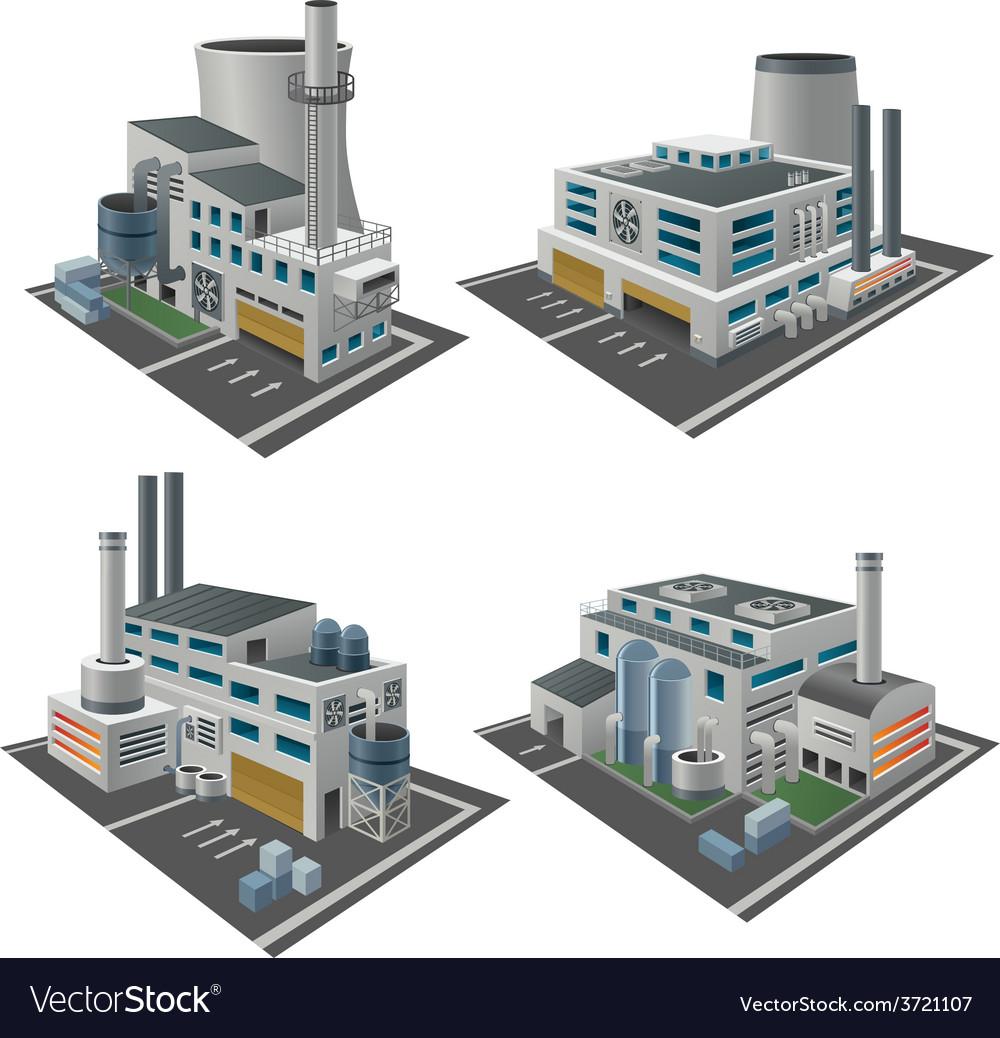 Set of perspective factories vector | Price: 1 Credit (USD $1)