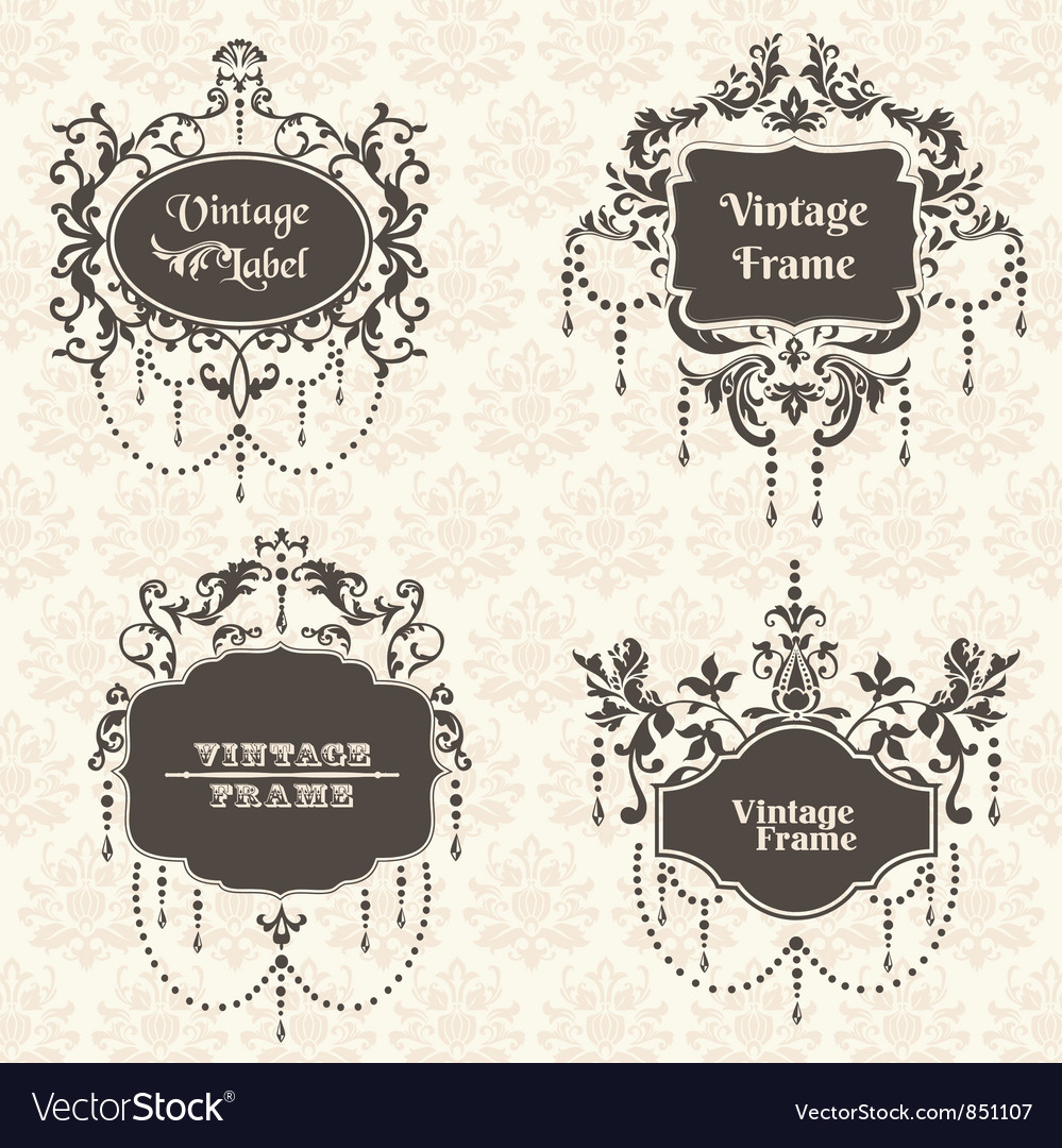 Set vintage frame collection with flower elements vector | Price: 1 Credit (USD $1)