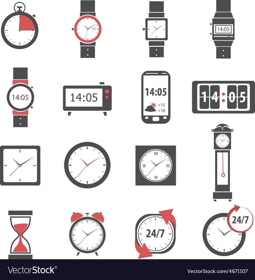 Time icon black set vector   Price: 1 Credit (USD $1)