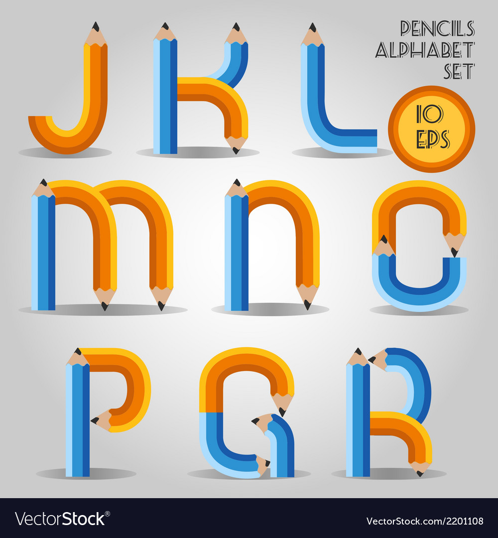 Alphabet in wooden pencil style vector | Price: 1 Credit (USD $1)