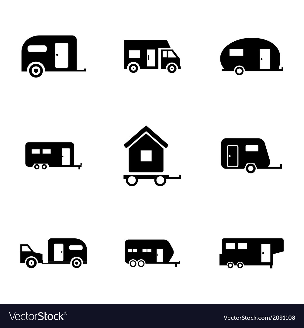 Black trailer icons set vector | Price: 1 Credit (USD $1)