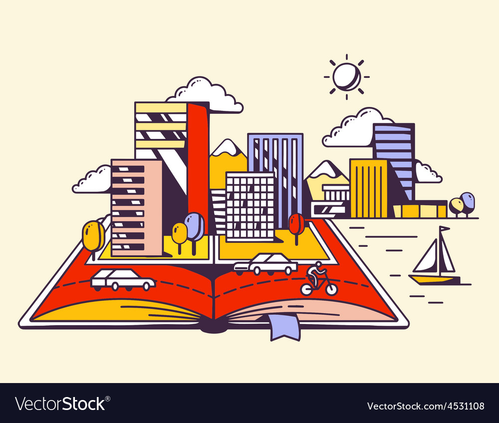 Cartoon open book with modern city on yel vector | Price: 1 Credit (USD $1)