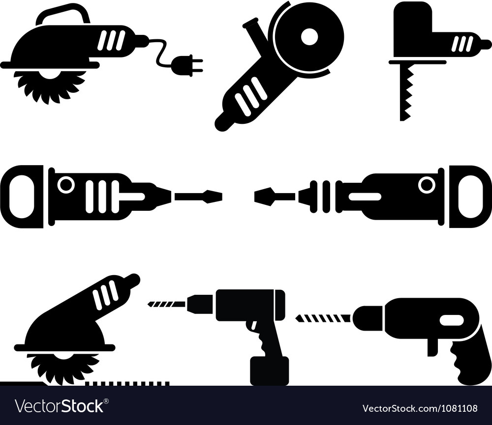 Electric tools icon set vector | Price: 1 Credit (USD $1)