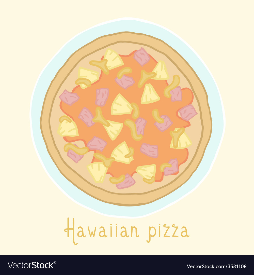 Hawaiian pizza vector | Price: 1 Credit (USD $1)