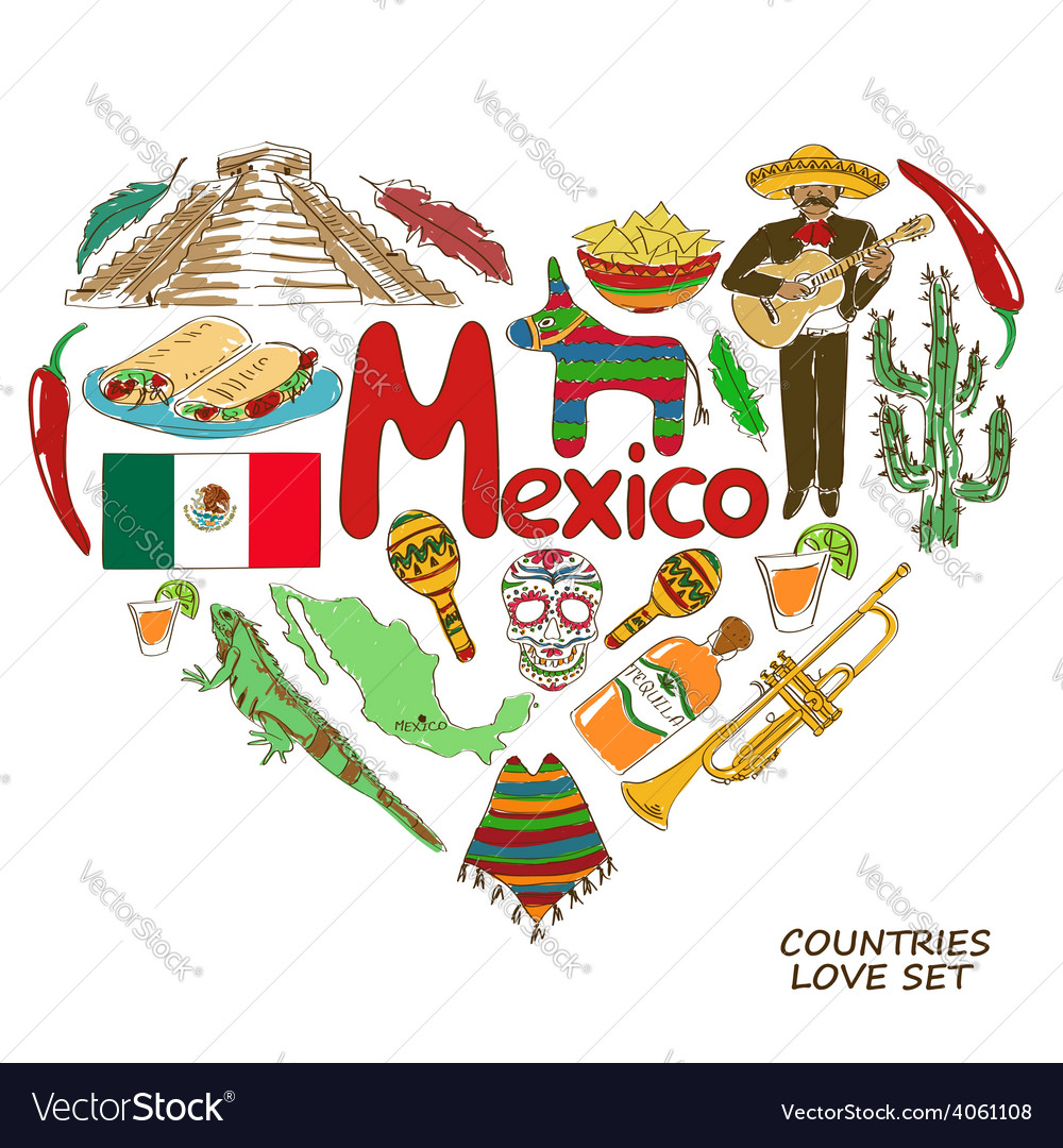 Mexican symbols in heart shape concept vector | Price: 1 Credit (USD $1)