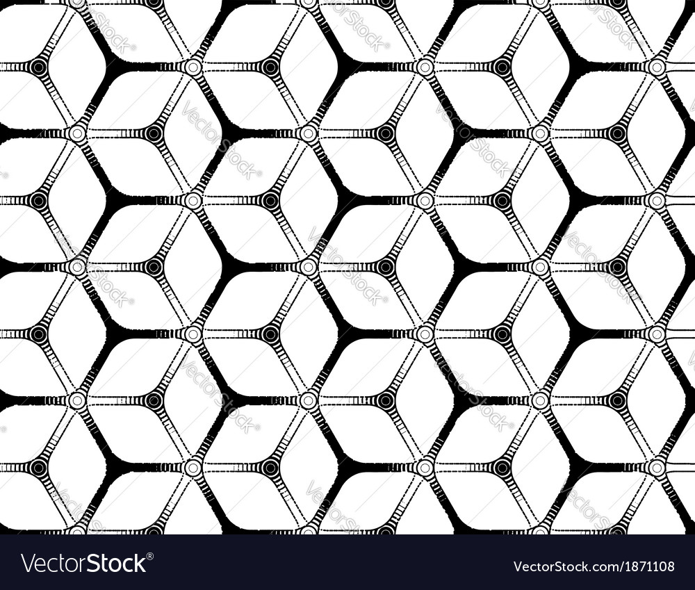 Rough drawing styled futuristic hexagonal seamless vector | Price: 1 Credit (USD $1)