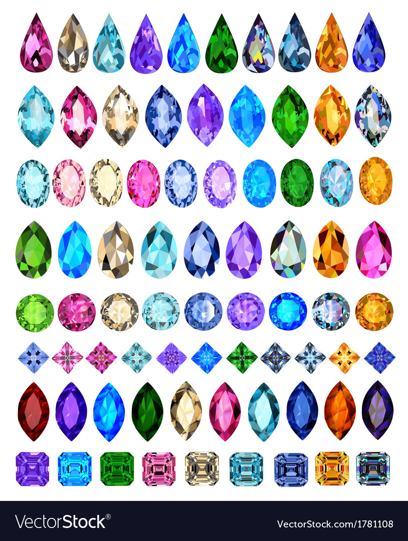 Set of precious stones vector | Price: 1 Credit (USD $1)