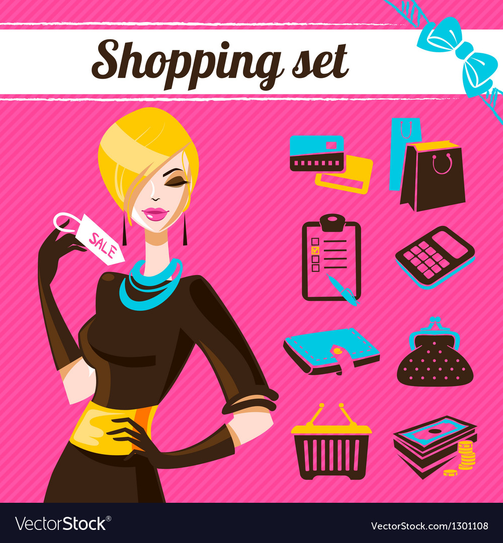 Shopping set infographics of fashion women vector | Price: 3 Credit (USD $3)