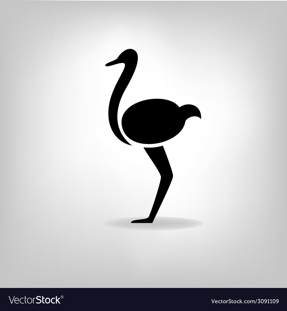 The black stylized silhouette of an ostrich vector | Price: 1 Credit (USD $1)