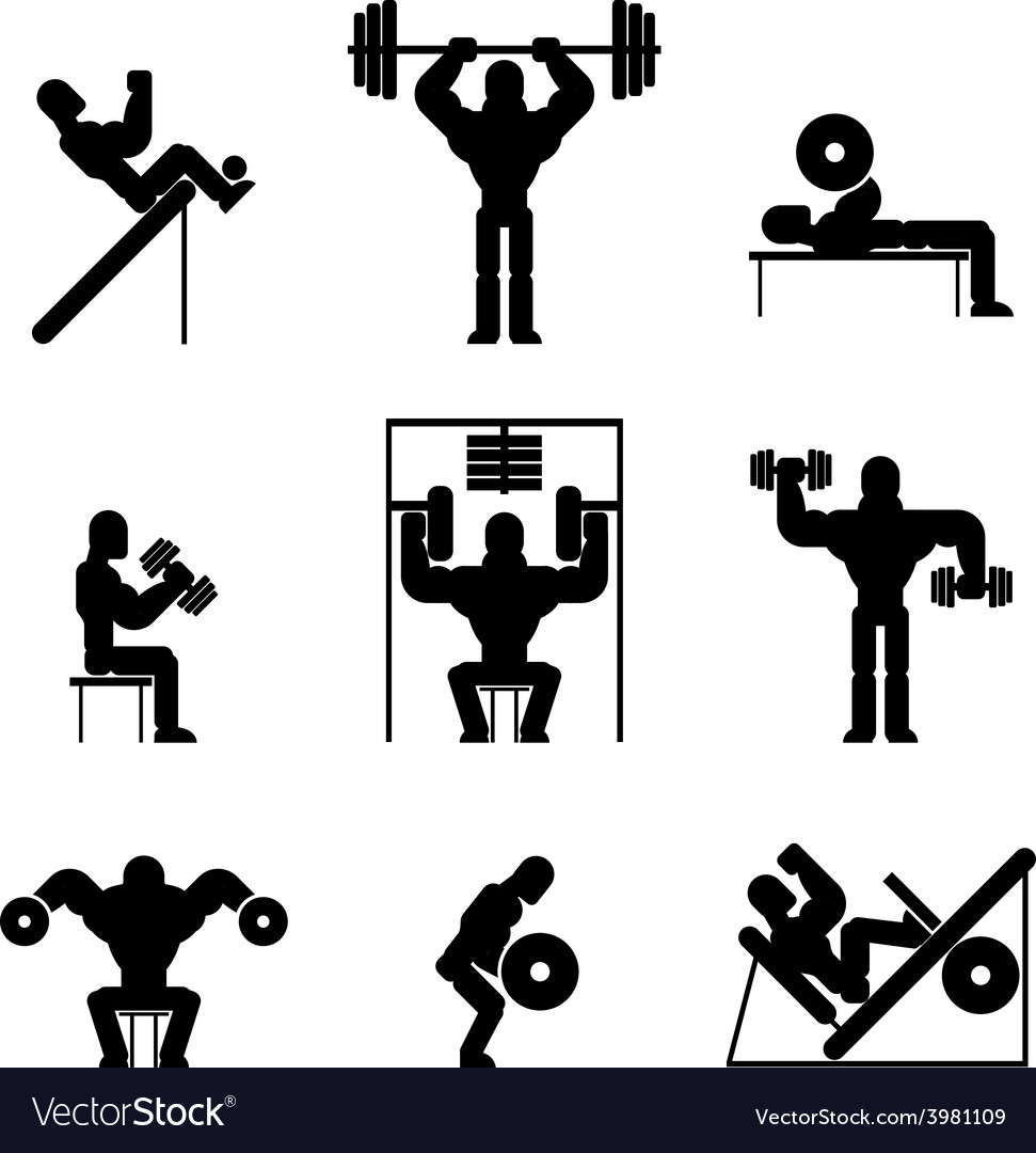 Bodybuilding and weightlifting icons vector | Price: 1 Credit (USD $1)