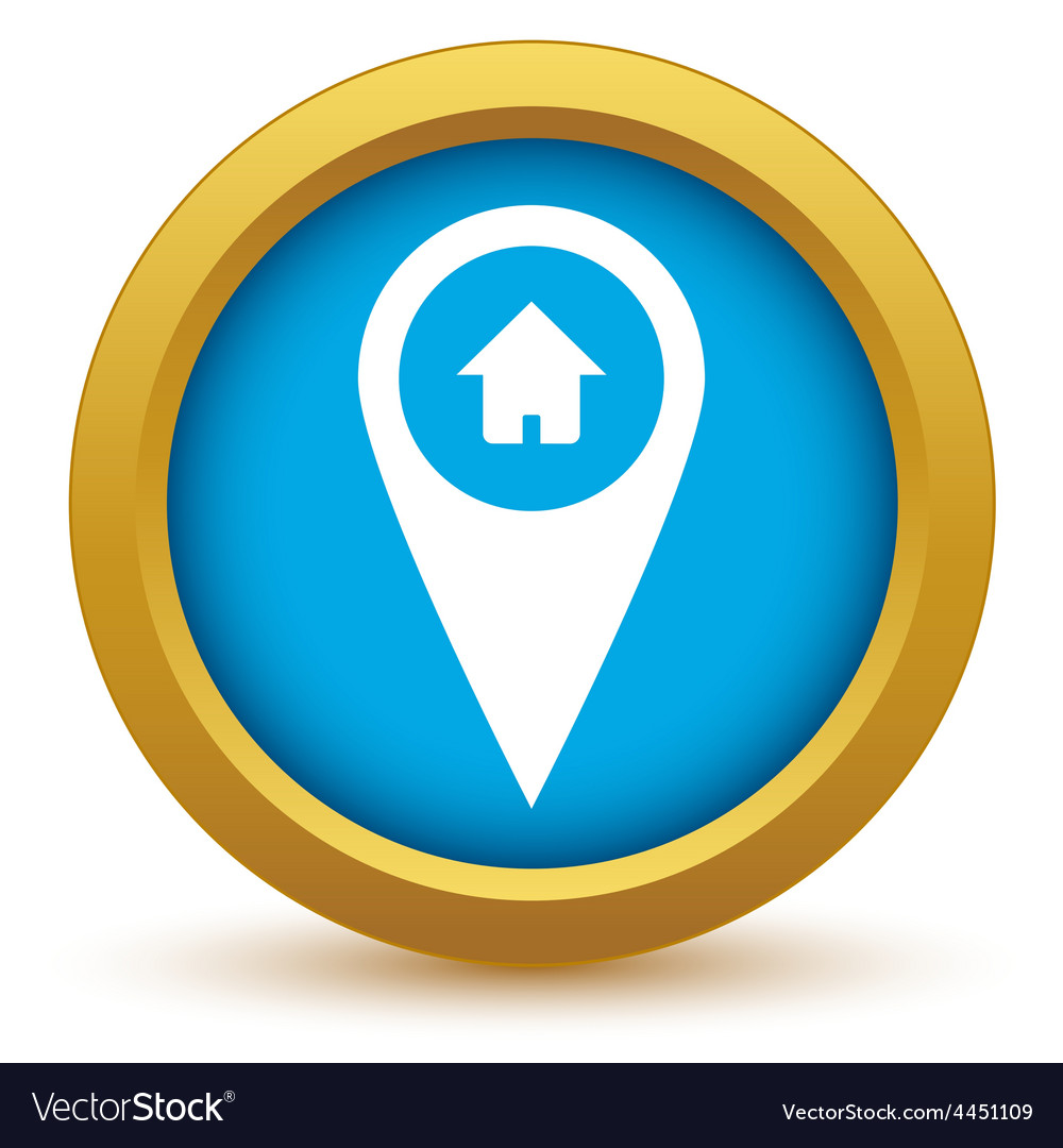 Gold home pointer icon vector | Price: 1 Credit (USD $1)