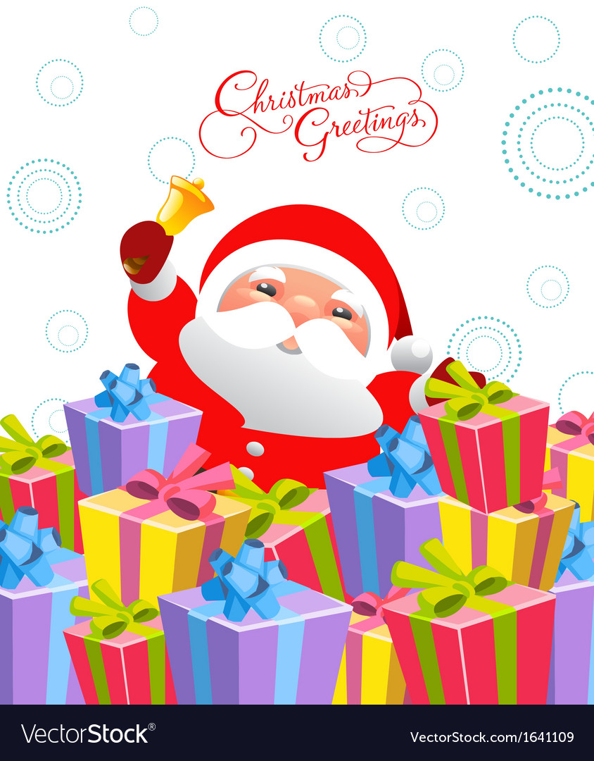 Merry christmas card with santa claus vector | Price: 1 Credit (USD $1)