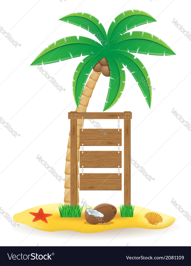 Palm tree and wooden pointer board vector | Price: 1 Credit (USD $1)