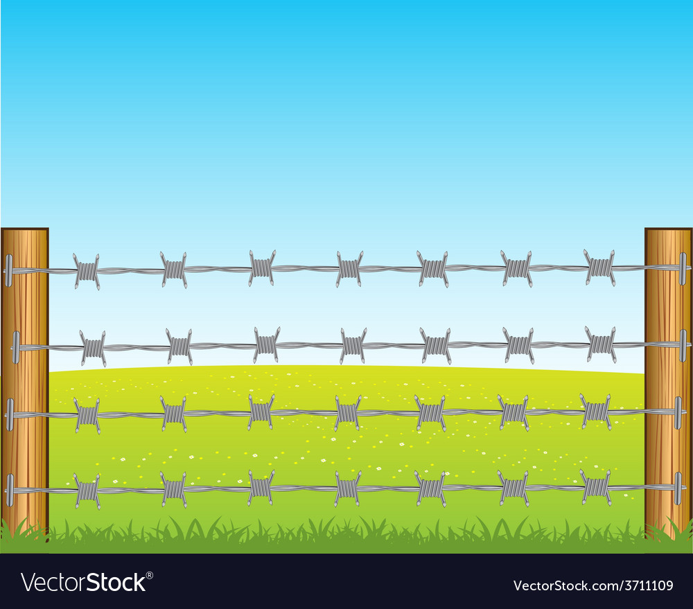 Poles with barbed wire vector | Price: 1 Credit (USD $1)