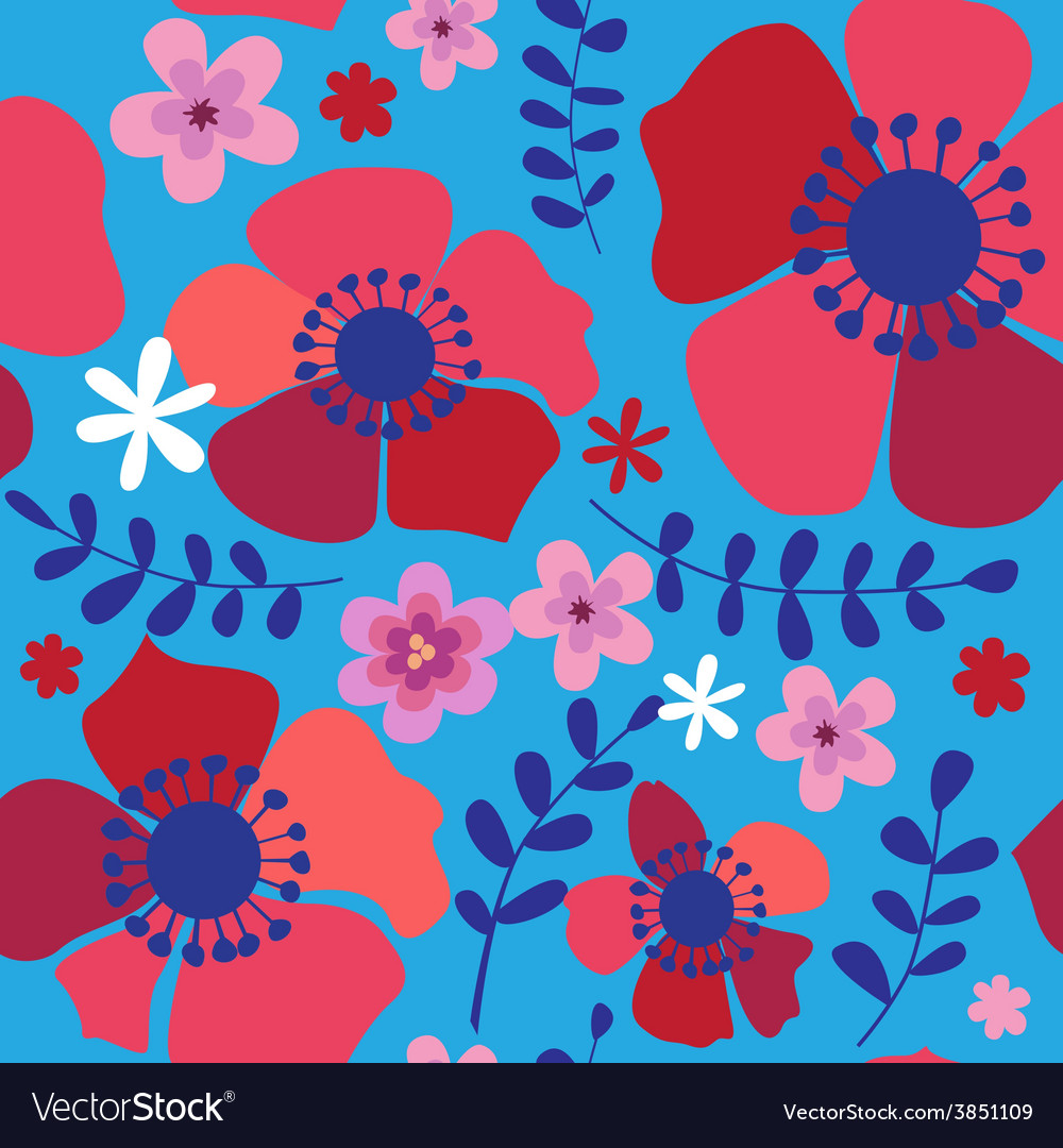 Seamless pattern with red poppies vector | Price: 1 Credit (USD $1)