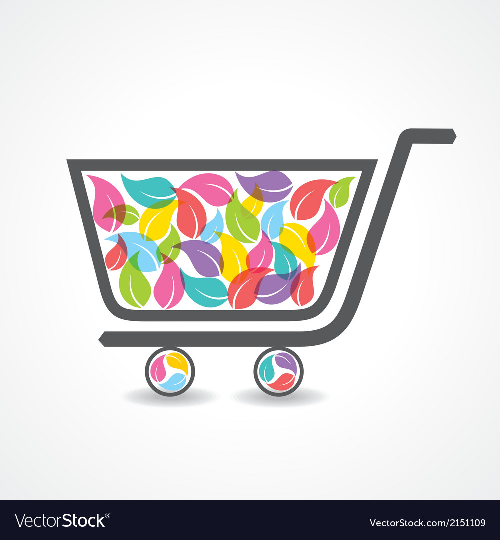 Shopping cart with group of colorful leaf vector | Price: 1 Credit (USD $1)