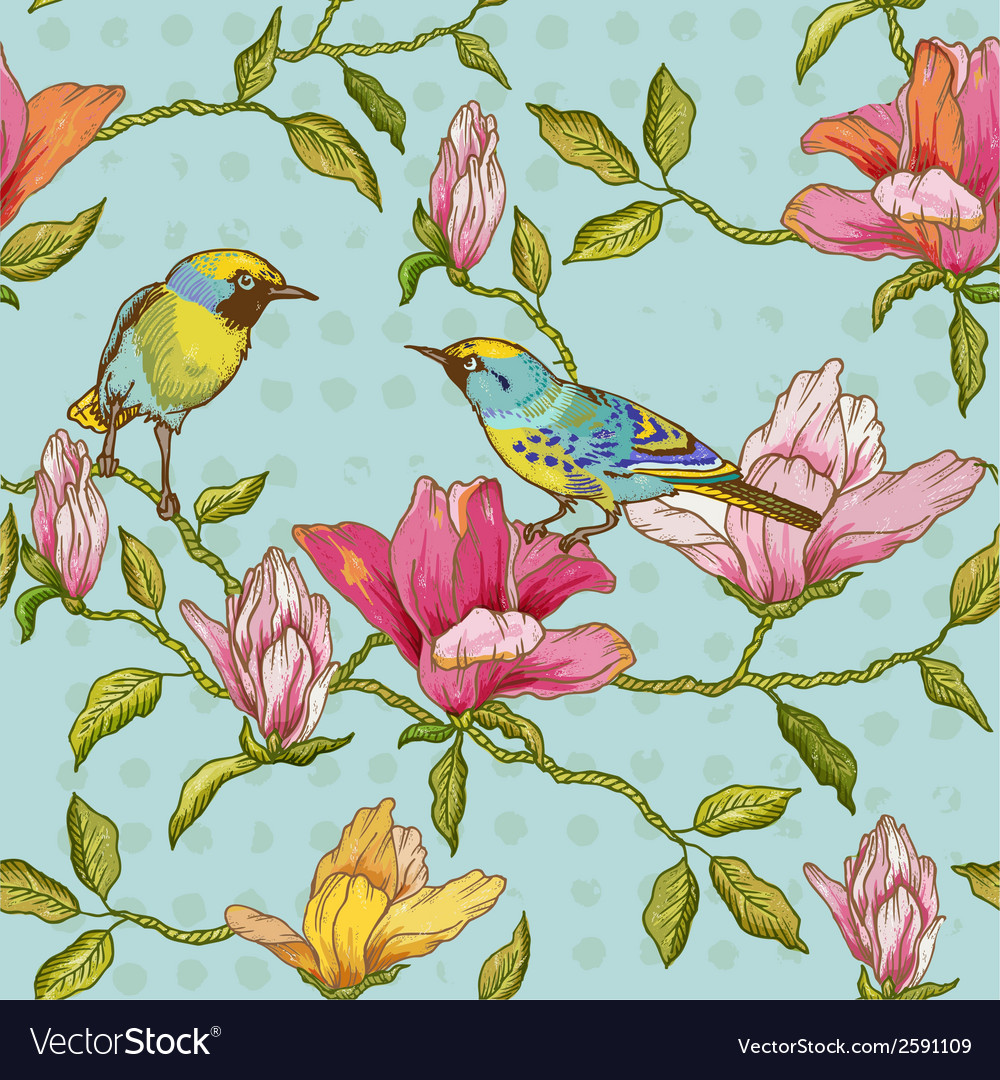 Vintage seamless background - flowers and birds vector | Price: 1 Credit (USD $1)