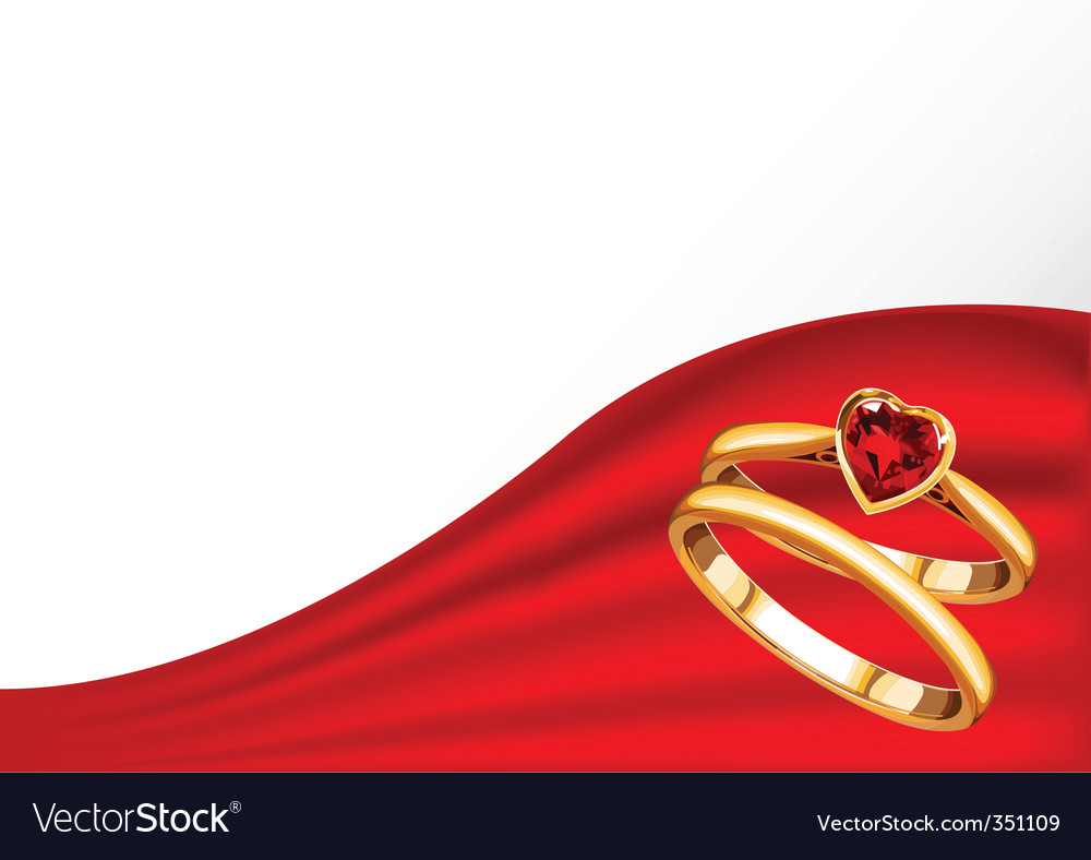 Wedding card with gold rings vector | Price: 3 Credit (USD $3)